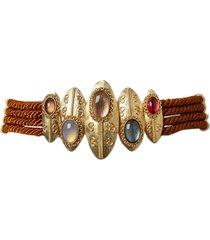burnished brown twisted shield belt