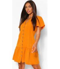 button down frill hem shift dress, mustard