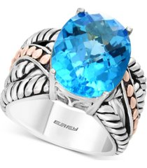 balissima by effy blue topaz statement ring (10-5/8 ct. t.w.) in sterling silver & 18k rose gold