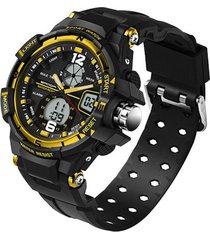 reloj analogo digital militar sanda 289 hombre 3atm dorado