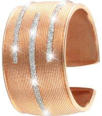 anello in ottone rosato e glitter per donna
