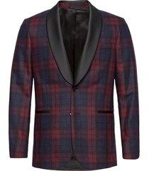 d2. slim check tuxedo jacket smoking röd gant