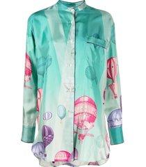 f.r.s for restless sleepers balloon-print long-sleeve shirt - green