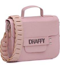 bolsa dhaffy bolsas alça trabalhada rosa