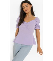 blouse met pofmouwen en hartvormige hals, lilac