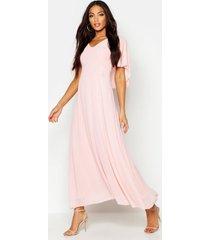 cape detail chiffon maxi dress, blush