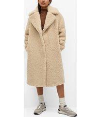 mango women's faux shearling oversized coat