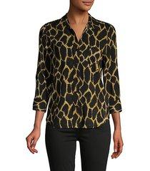 animal-print blouse