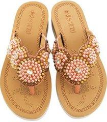 cómodas sandalias de mujer perla casual-rosa