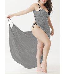 plus tamaño de rayas sin mangas cubren la ropa de playa vestido