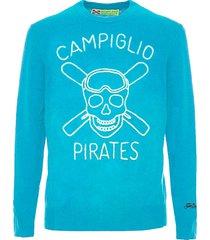 mc2 saint barth light blue man sweater campiglio pirates embroidery