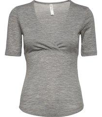 top nursing wrap wool t-shirts & tops short-sleeved grå lindex