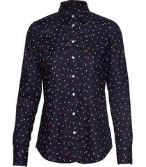d2. lure printed stretch oxf shirt overhemd met lange mouwen blauw gant