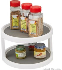 mind reader 2-tier kitchen storage spice rack counter top organizer, spins 360 degrees