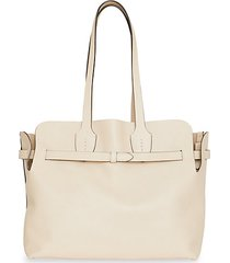 belted leather tote