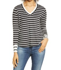 women's bobeau stripe v-neck butter top, size x-small - black