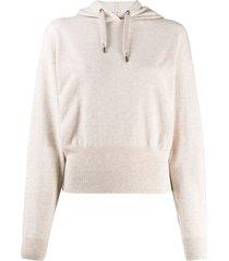 brunello cucinelli cashmere long-sleeve hoodie - neutrals