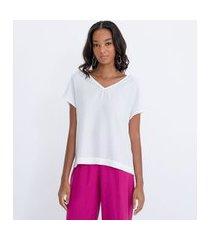 blusa manga curta lisa com argola nas costas   cortelle   branco   p