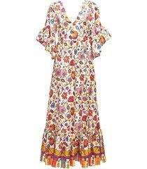bella v-neck elbow sleeve dress