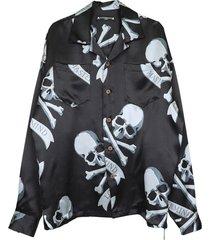 black and grey skull print silk shirt