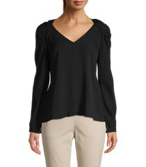 theory women's silk peplum top - black - size xs