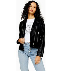 black faux leather biker jacket - black