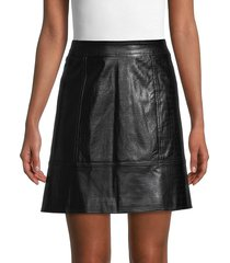 pure navy women's croc-embossed faux leather skirt - black - size 10