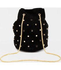 aviie nailhead faux suede bucket bag - black