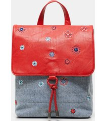 denim backpack mandalas - red - u