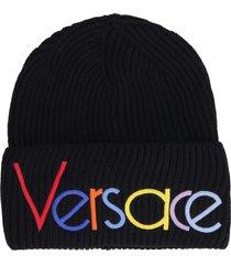 versace logo detail ribbed wool beanie