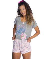 short doll pina colada manga curta donuts feminina - feminino