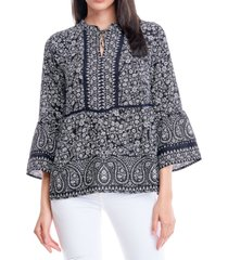 fever bell sleeve peplum blouse with tie neck