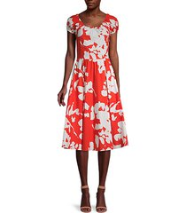 abstract floral-print stretch-cotton dress