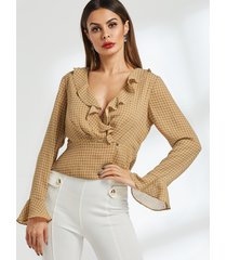 blusa de manga larga con cuello en v profundo de rejilla caqui sexy detalles con volantes