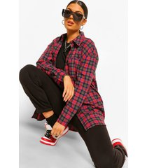 oversized flanneled shirt, berry