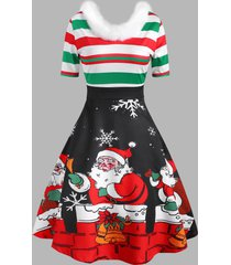 christmas santa claus snowflake striped faux fur insert dress