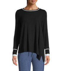 michael stars women's asymmetrical-hem top - black chalk - size xs