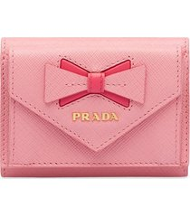 prada saffiano leather wallet with bow - pink