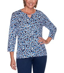 alfred dunner petite vacation mode animal-print sweater
