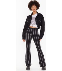 womens flare's nothing to it striped flare pants - black