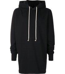 rick owens drkshdw longline hoodie - black