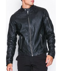 premium by jack & jones jprrichard clean leather jacket sts jackor svart
