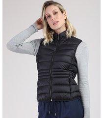colete feminino puffer em nylon com bolsos gola alta preto