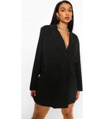 oversized getailleerde blazer jurk, black