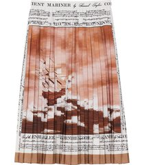 burberry mariner print pleated cady skirt - brown