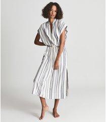 reiss ashley - striped kaftan midi dress in ivory, womens, size 10