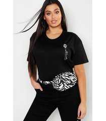 plus rose pocket print slogan t-shirt, black