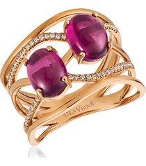 14k strawberry gold®, raspberry rhodolite® & vanilla diamond® ring