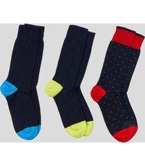 tripack calcetines estampado azul baziani