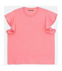 blusa regata em algodão com babados nos ombros curve & plus size | ashua curve e plus size | rosa | g